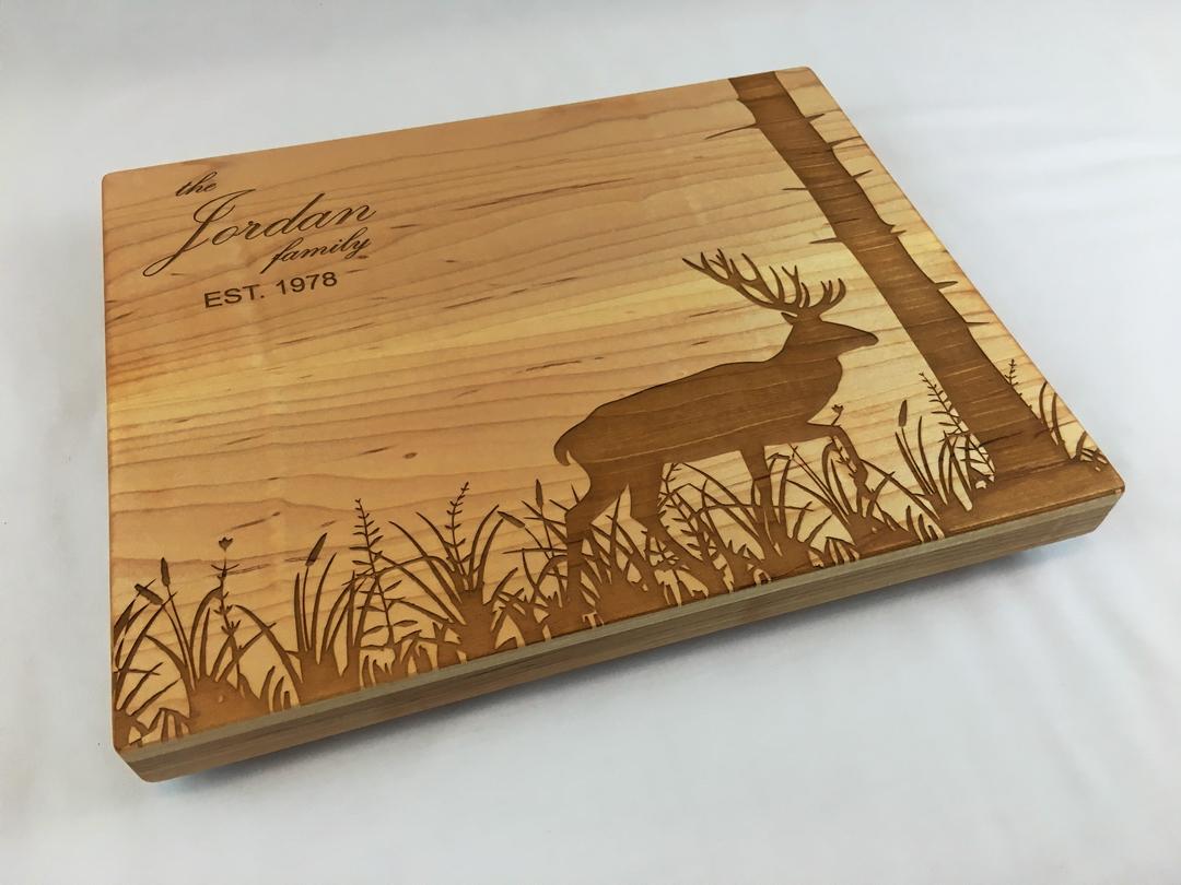 Laser etched cutting board-001-deer-meadow-tree.jpg