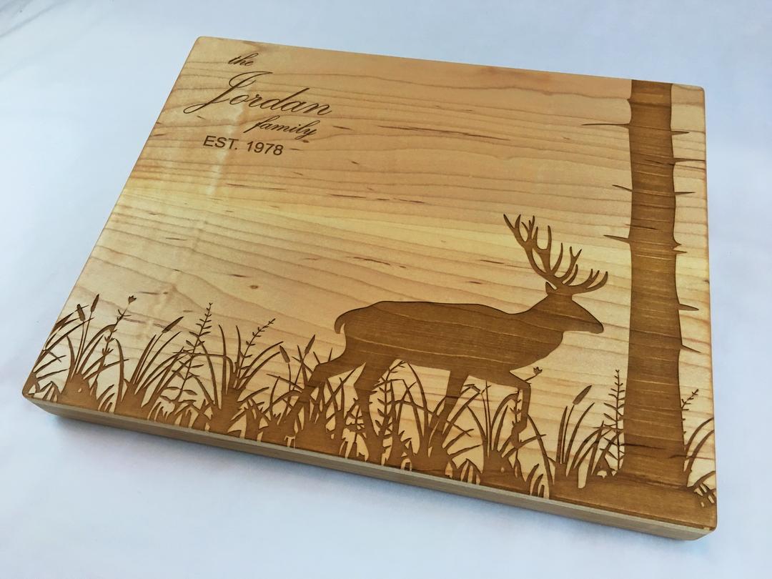 Laser etched cutting board-002-deer-meadow-tree.jpg