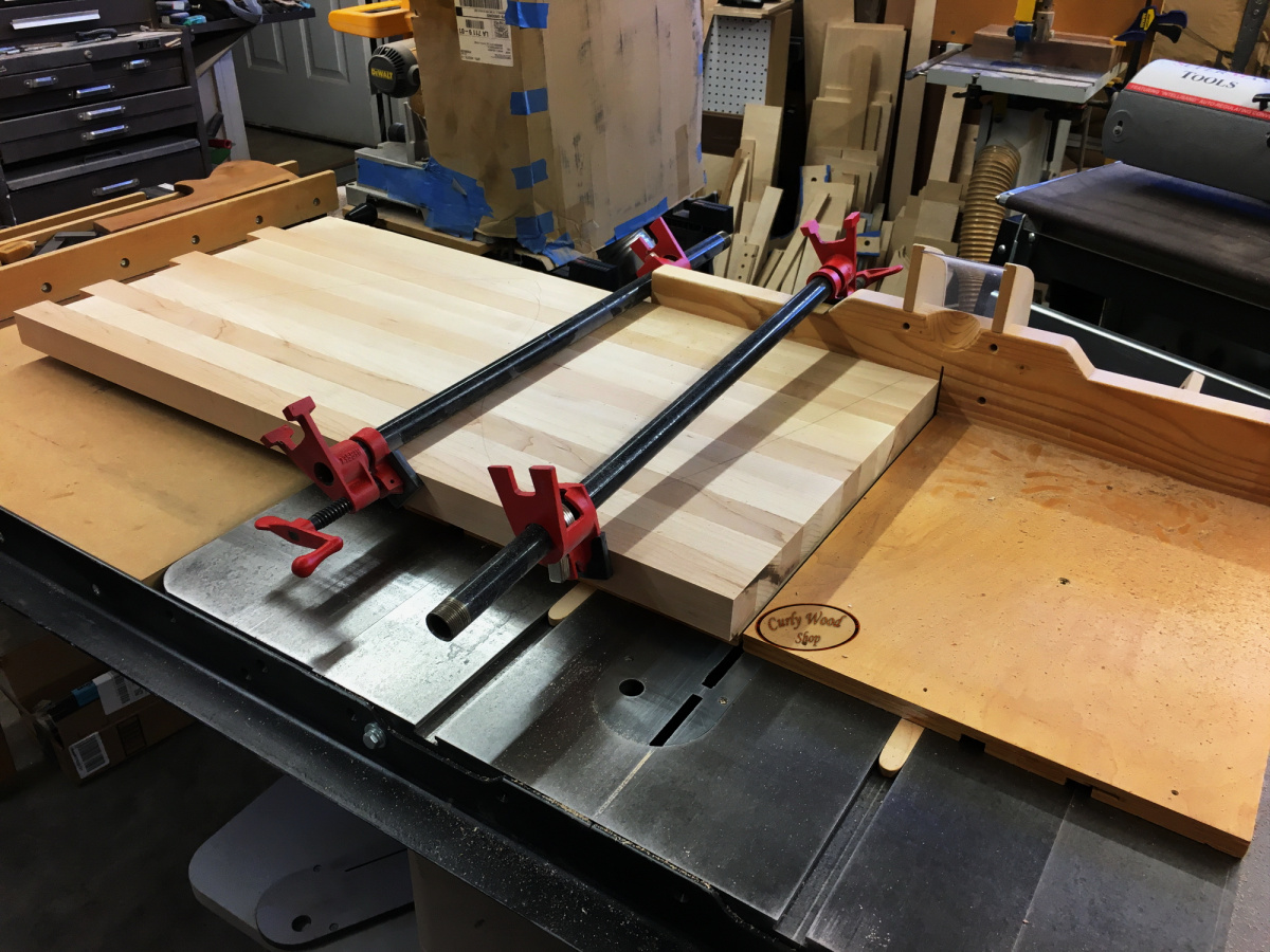 Large Maple cutting board-009-trimming-one-end-square.jpg
