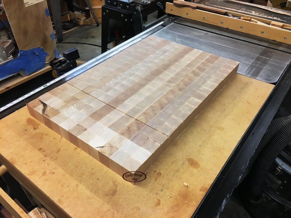 Large Maple cutting board-011-end-grain-pieces-off-bandsaw.jpg