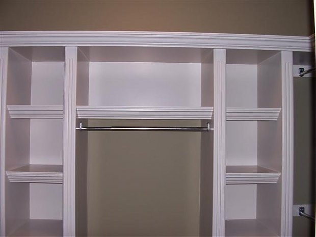 built in shelves small closet | We finished building and painting ...