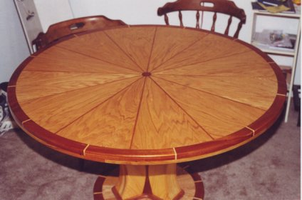 Round Dining Table Multiple Wood Inlays Woodworking