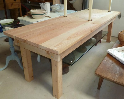 Farm table construction advice woodworking talk for Dining table construction