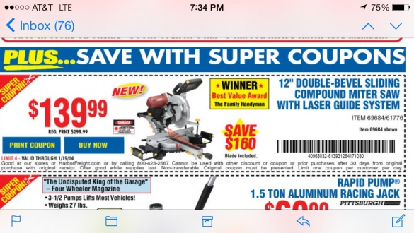 Harbor Freight 12 Compound Miter Saw Woodworking Talk