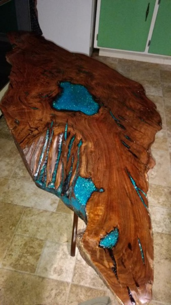 Live Edge Walnut Slab Table Inlaid With Epoxy