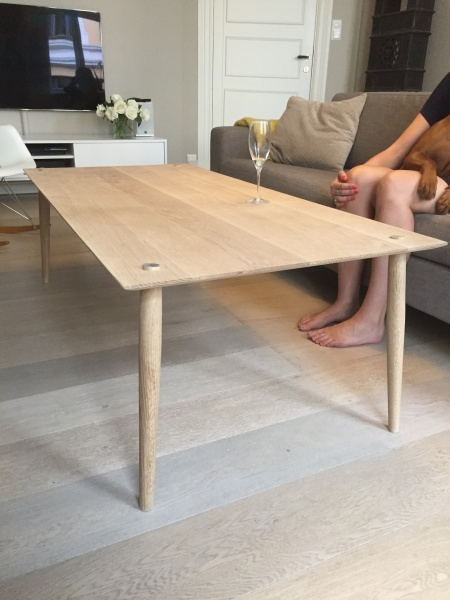 Oak Table With Table Leg Wedge Joint And Brass Details