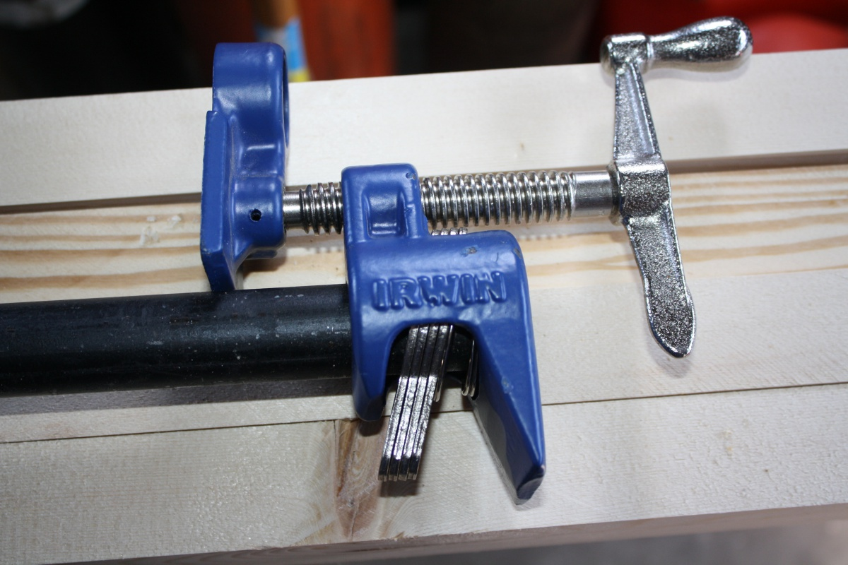 Click image for larger version Name IMG_6309.jpg Views 81 Size 261.1 & Irwin pipe clamp modified for push/pull. - Woodworking Talk ...