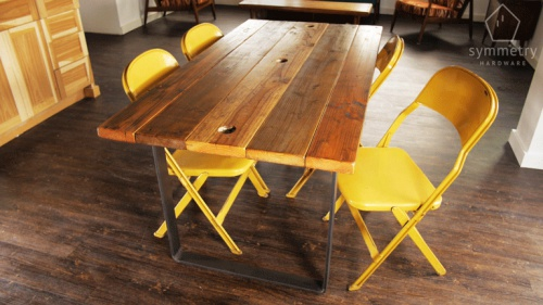 Click Image For Larger Version Name: Modern Reclaimed Wood Dining Table