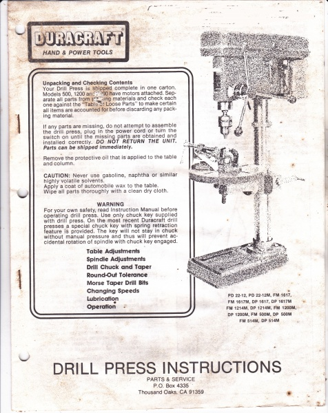 anybody know this drill press woodworking talk woodworkers forum rh woodworkingtalk com Drill Press Stand Industrial Drill Press