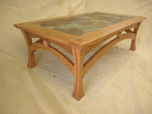 Cherry Coffee Table inlayed with slate tile Woodworking Talk