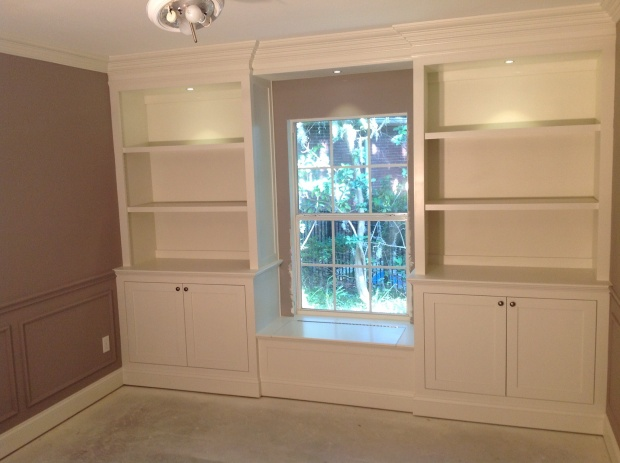 Lower Cabinets Upper Bookcases Flanking Window Seat Built In Construction Questions