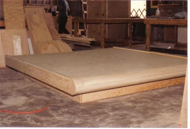walnut floating bed frame design radiusbr3jpg - Bed Frame Designs