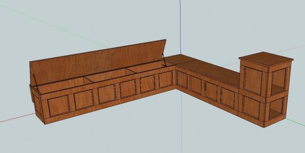 Corner Storage Bench First Sketchup Design Woodworking