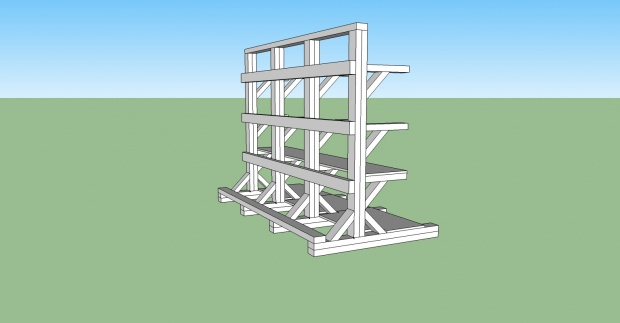 Stand Alone Wood Rack And Shelves Design Help