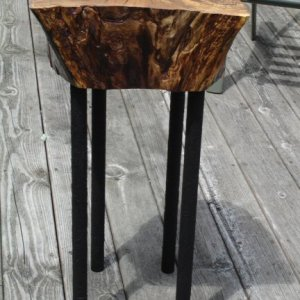 spalted maple, recycled steel legs