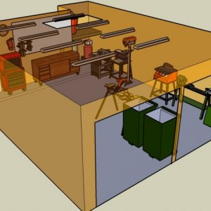 A 3D view of how I want to rearrange my workshop. I do not own a lathe yet, but wanted to cut out a space for a full size lathe. I am drooling over a