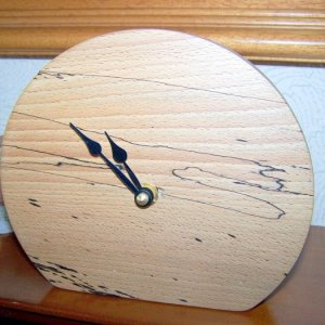 Minimalist mantle clock in spalted beech