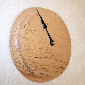 minimalist wall clock in spalted beech