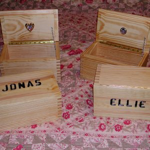 """Treasuer Chests"" for my grandchildren.  Made from Yellow pine with a laquer finish."