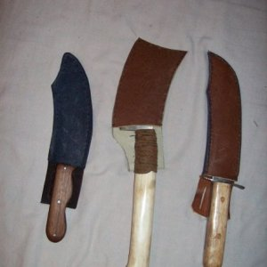 First knives I made from right to left, my butchering kit!