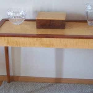 Entry table, Tiper and Quilted maple, figured cherry