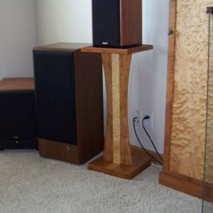 Home theatre speaker stands(4), and DVD cabinet.