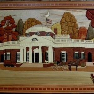 "Intarsia of Thomas Jefferson's Monticello as it may have looked in 1800. 800+ pieces of 17different woods 20""x30"" cherry frame No stains, pa"