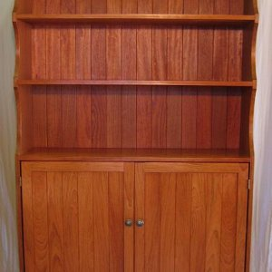 Custom kitchen bookshelf Brazilian cherry