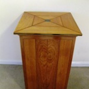 Custom display pedestal. Brazilian cherry with ebony accents