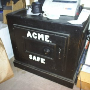 NOT REAL SAFE... not as in it is a dangerious safe, but in like it is totaly wood stage prop.