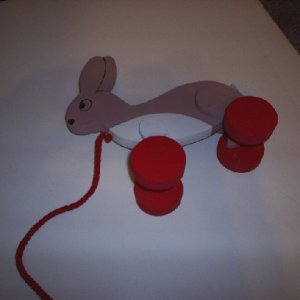 "Little bunny Fo-fo pull toy. The wheels are off center so it will ""hop"". If the CSPC Law HR 4040 isn't changed, I can not sell anymore of th"