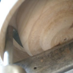 Bowlsaw in groove, initial cut down by hand turning