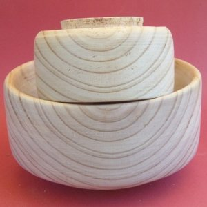 Two bowls from blank ready for finishing