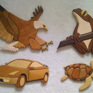 The collection.  Car: 2005 aged 15 Turtle: 2007 aged 17 Frog: (present) Eagle: 2011 aged 22.