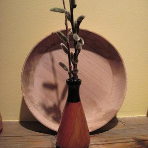 This flower pot is a peice of crab apple with a blackwood top