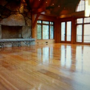 Hickory flooring with natural finish.