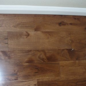 Maple wood flooring with stain.