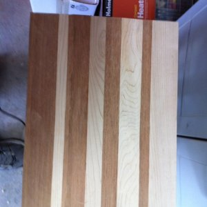First glue up : another cutting board (a friend was helping) Jatoba and Rock Maple.
