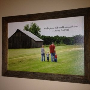Barnwood frame for my wife made from scraps from the barn on the canvas