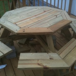 octagon picnic table walk in finished