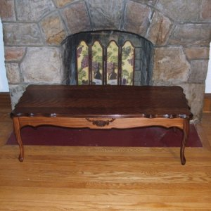 This Victorian style coffee table is so beautiful! All work done by hand - Red Oak stain