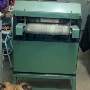 Grizzly G1079 Dual Drum Sander (Outfeed side)  Daisy, my Boxer, had to get into the pic also. She's such a ham....