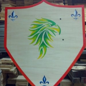 Made a larger shield for my stepson and larger sword..even added in his family crest symbols into front for him :)