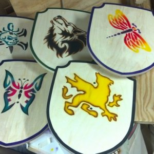 Some toy shields i made..airbrushing n woodcrafting done by me..:)