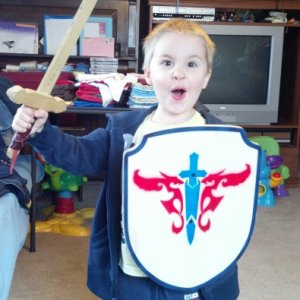 My son and his sword and shield set i made for him...lol