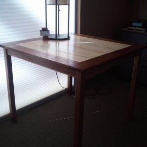 First attempt at making a table with breadboard ends.  Reclaimed mahogany and maple.