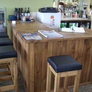 Bar and stools for a local cafe.