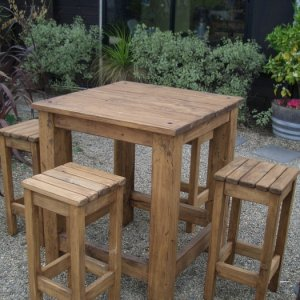 Outdoor table and stools for local cafe.