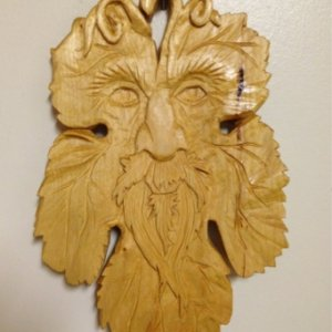 "6"" x 9"" Grape leaf man in Basswood."