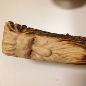 "Windswept Willie. 6"" tall in leftover sweet gum."